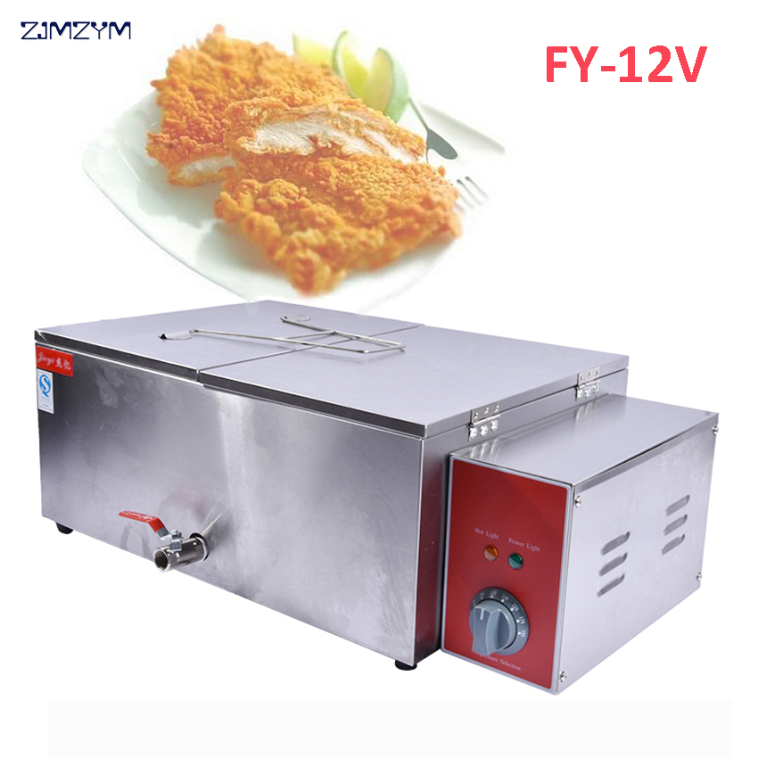 1PC New and high quality FY-12V Electric Deep Fryer Commercial Deep-Fried Dough Sticks frying machine 5l stainless steel spanish churro maker fried dough sticks machine with 6l electric fryer commercial churros machine