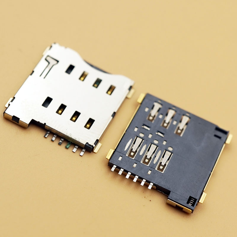 100pcs MICRO Sim Socket 6 Pins Self-Pushing Phone SIM Card Deck PUSH-Push SIM small card Slots Connector Jacks