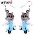 Женские акриловые серьги-подвески WEVENI, длинные висячие серьги с котенком и котом, ювелирные изделия для прогулок, аксессуары для девушек и ж...