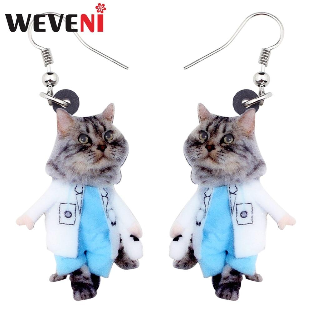 WEVENI Acrylic Fashion Walking Suits Kitten Cat Earrings Big Long Dangle Drop Animal Jewelry For Women Girls Ladies Accessories