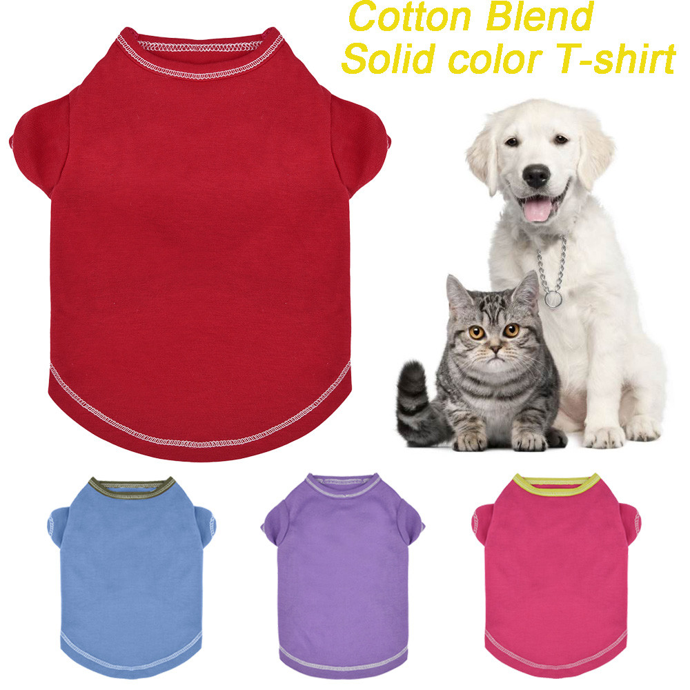 Small Dogs Clothes For Dogs Small Pet Dog Clothes Fashion Cat T-Shirt Apparel Spring Lovely Pure Color