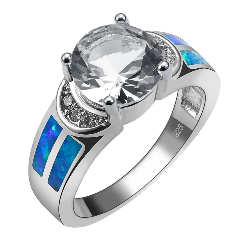 ba035f92e89 Zircão Cristal branco Com Azul Opal de Fogo 925 Anel de Prata Sterling  Belas Jóias Tamanho 6 7 8 9 10 R1491