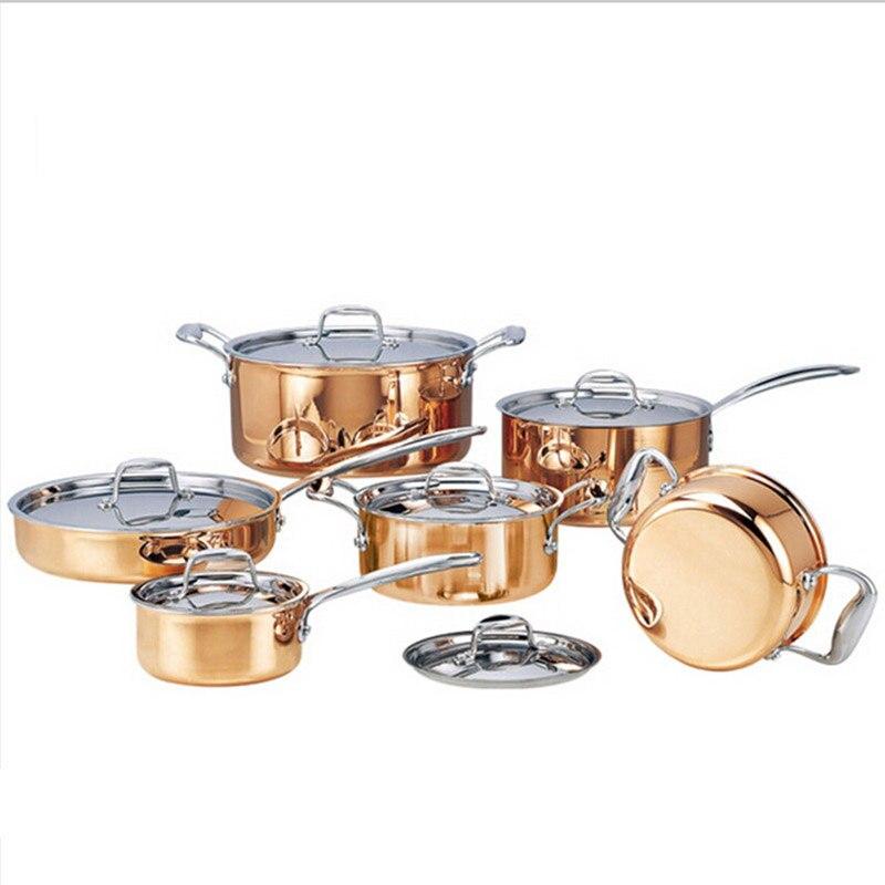 Di alta qualità di Rame 6 pezzi Pentole Con Padella In Acciaio Piatto Caldo Pentola E Padelle Pentolame e Utensili per cucinare Set