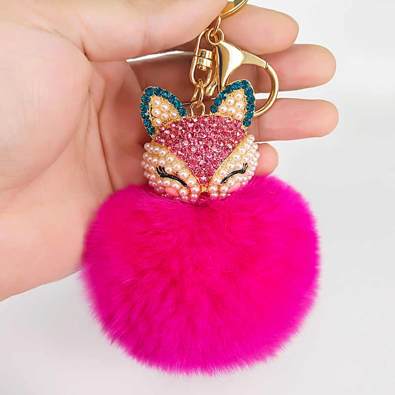 ... 8Color Best Cool Puff Ball KeyChains Cute Fox Key Chains Kids Womens  Personalised Rings Key Chains ... d50facf8d3