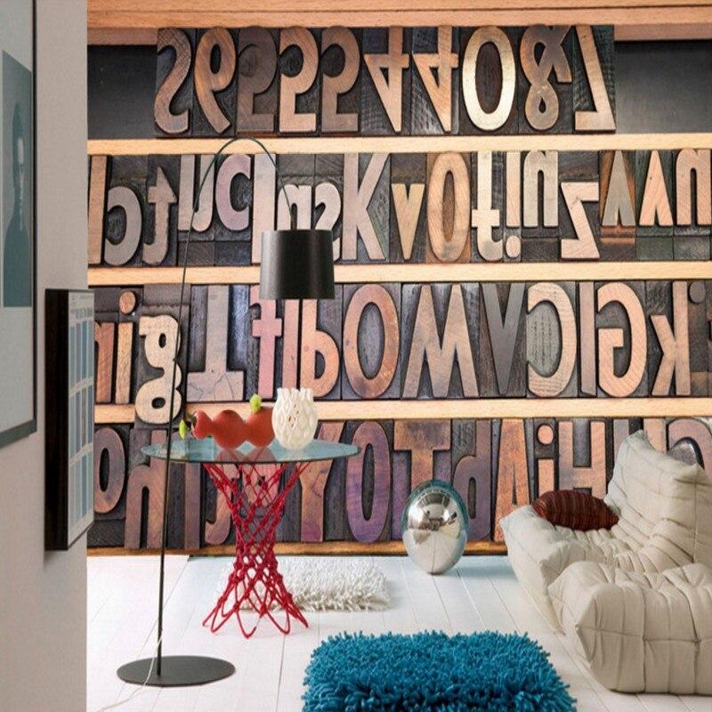 US $15.23 38% di SCONTO|Foto carta da parati design Moderno alfabeto  Inglese carta da parati soggiorno decorazione di Studio sfondo  personalizzato ...