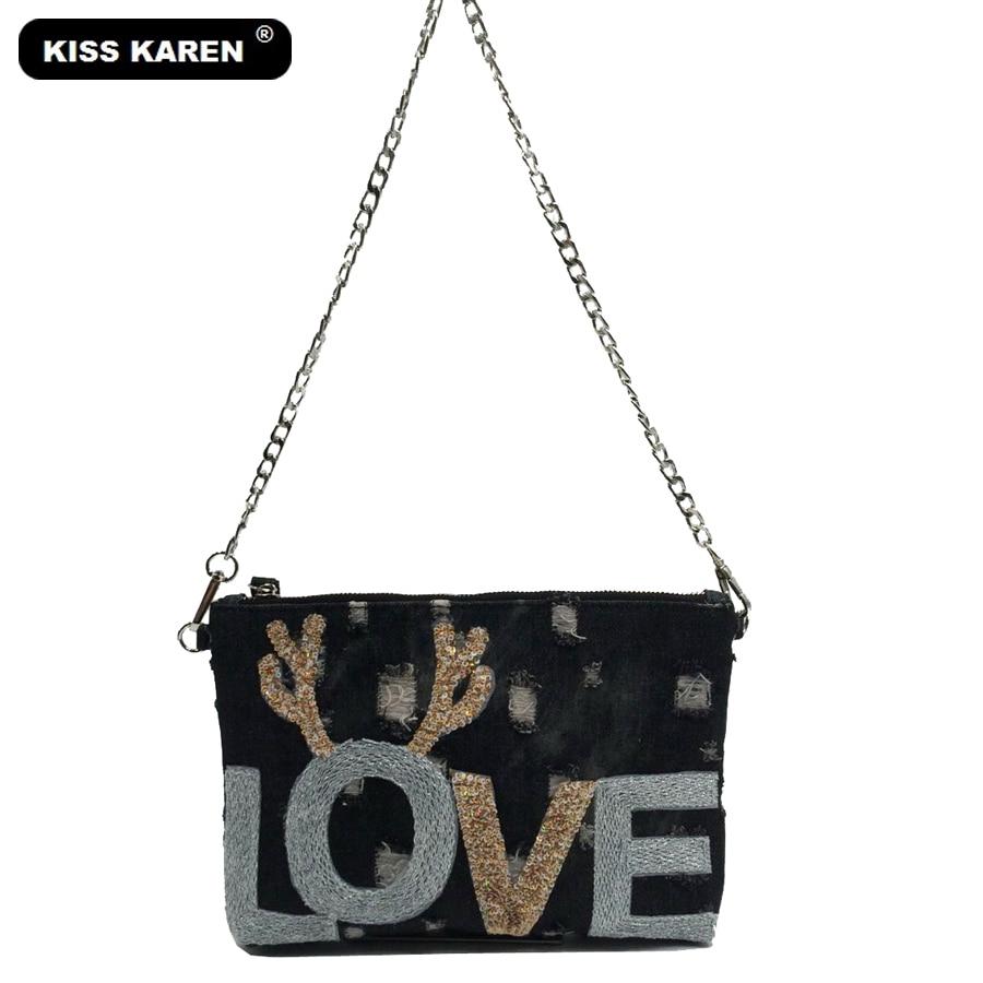 KISS KAREN 패션 팔찌 리벳 데님 가방 여성용 어깨 가방 청바지 플랩 여성 지갑 메신저 가방