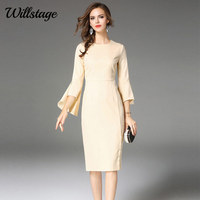Willstage 2018 Spring Dress Long Flare Sleeve Pencil Office Ladies Dresses Women OL Wear Side Split