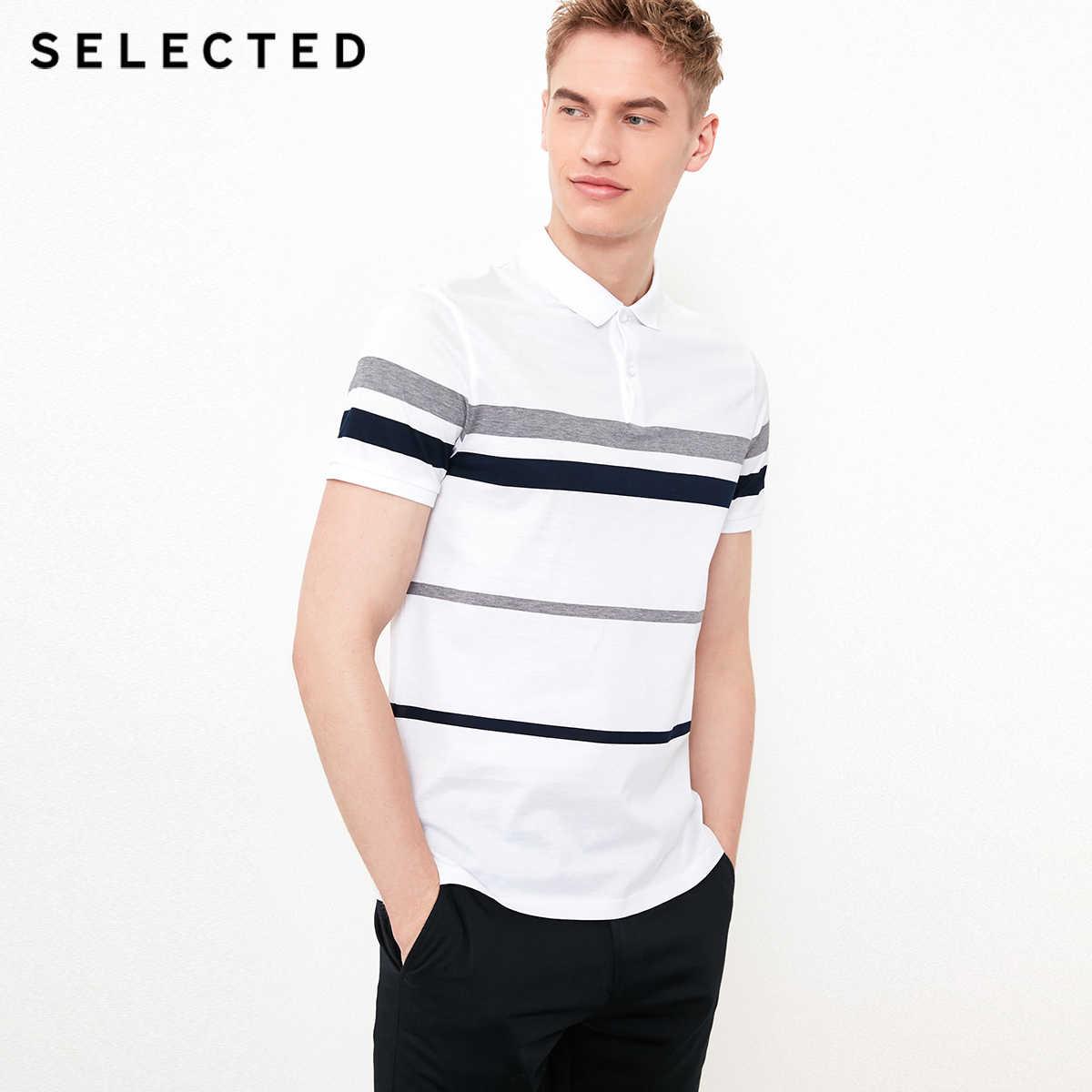 選択シルケット綿ストライプビジネスレジャー Tシャツ S | 41823Z508