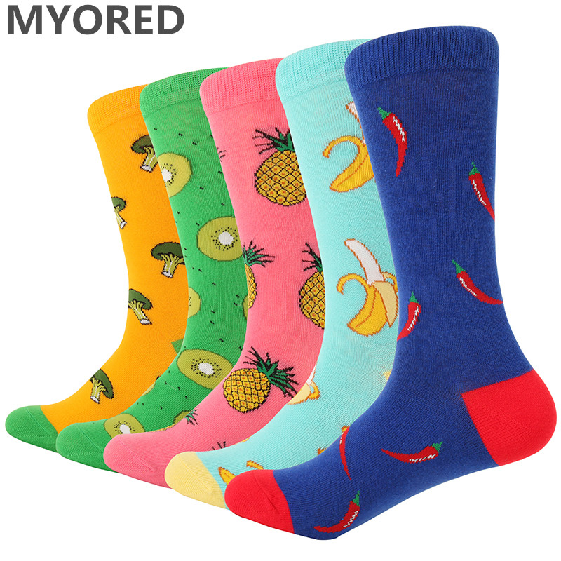 MYORED 5pairs/Lot men socks cartoon sushi animal crew socks women socks cotton funny dog fruit candy colorful socks wedding gift