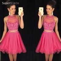 SuperKimJo/платья для выпускного вечера из двух частей, короткие 2019 платья для выпускного вечера, недорогие ярко розовые платья для выпускного в