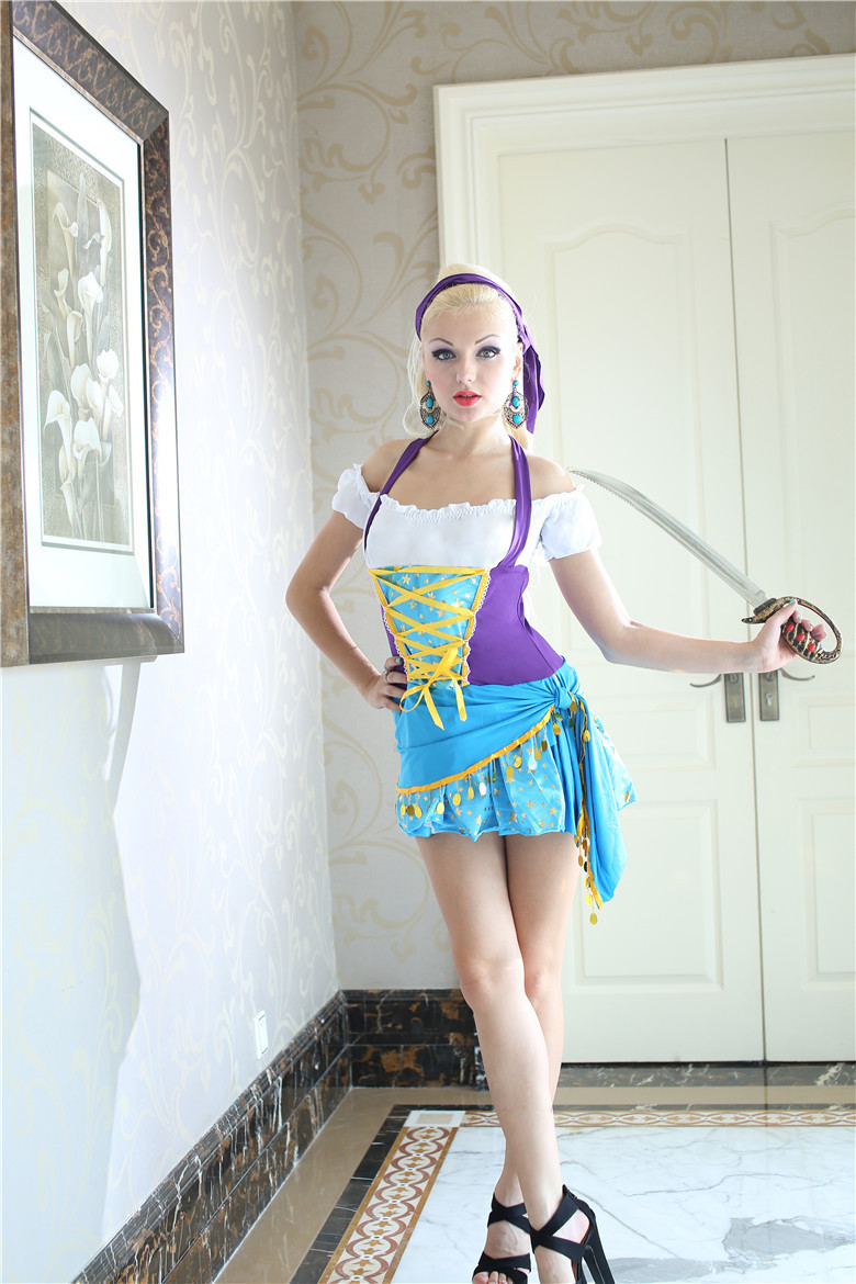 20d810e0ce9 US $17.79 11% OFF|Woman Sexy buccaneer corsair Pirate Role play Cosplay  Halloween Gypsy Costume Rave party masked ball Nightclub Masquerade  dress-in ...
