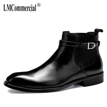 High Quality Genuine Leather business Chelsea mens boots steel toe British retro men shoes cowhide cowboy