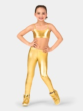 ICOSTUMES Little Girls' Metallic Leggings Color Shiny Stretch Kids Liquid Metallic Footless Leggings