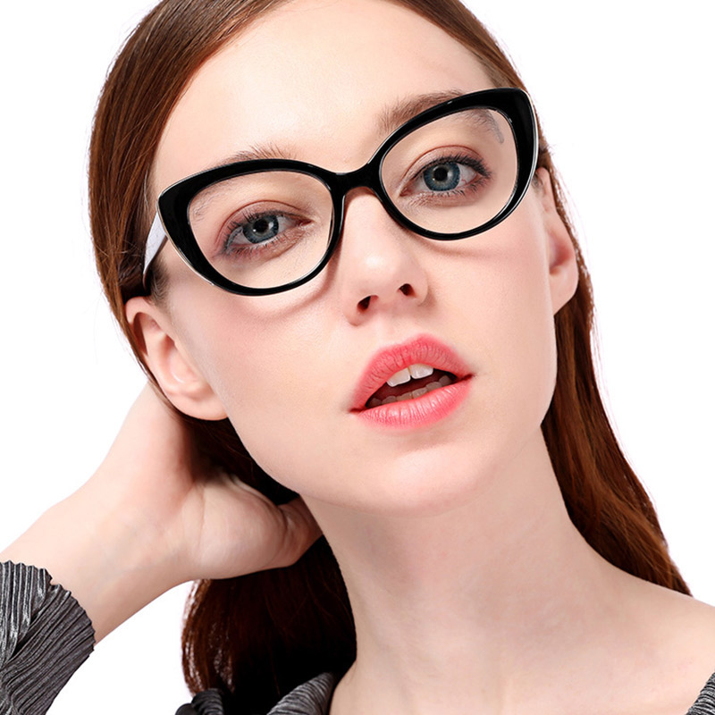 Women Cat Eye Optical Eyeglasses Prescription Acetate Rim Spectacles for Big Rim Glasses Frame Fashion Styles 95139
