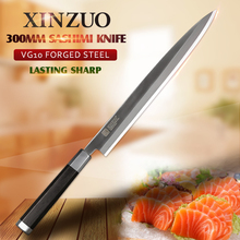 XINZUO Sashimi knife 2 layers VG10 steel sushi knife 12 inch stainless steel Fish raw knives ebony wood handle kitchen knives