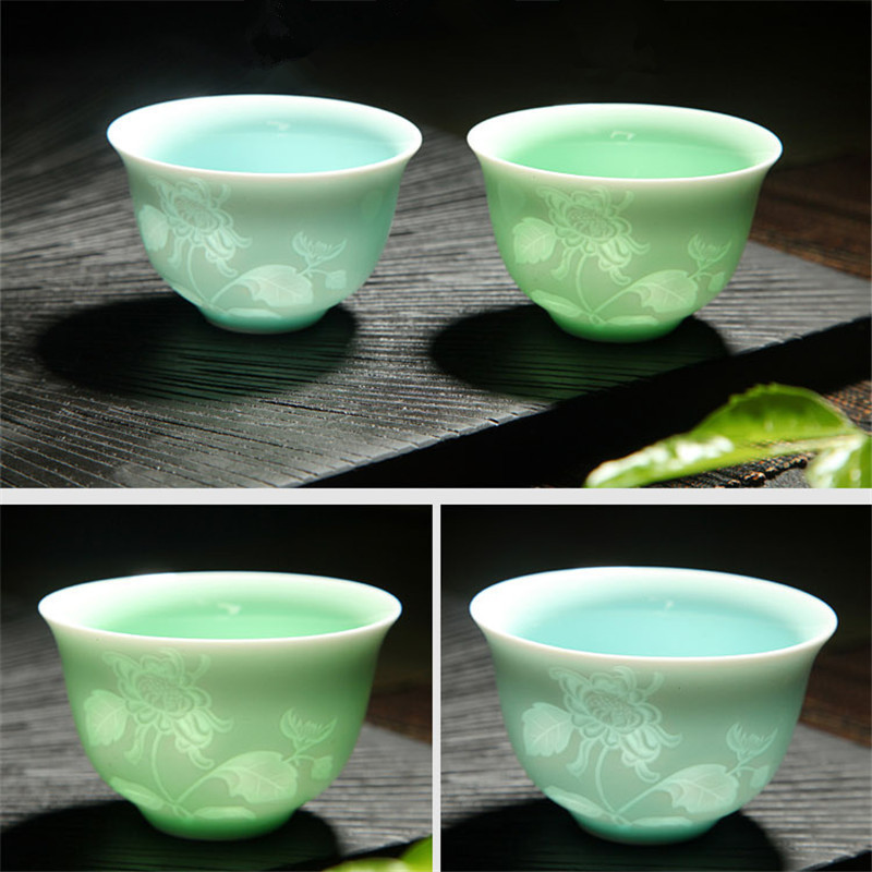 Song-dynastie Ying Qing (Misty Blue) kungfu Teetassen Pflaume/Orchidee/Bambus/Chrysantheme/Fisch/Berg Keramik Pu'er Tee Tasse