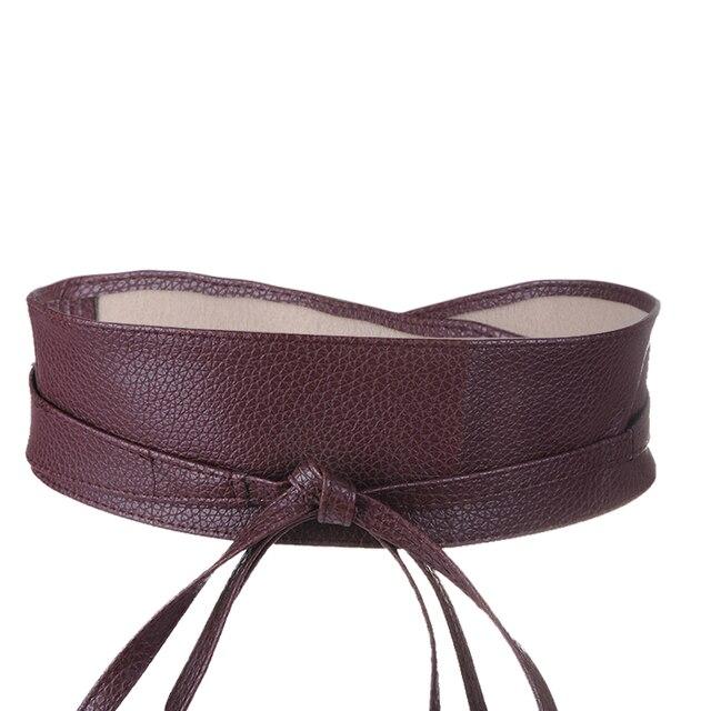 Fashion Metallic Color Soft Faux Leather Wide Belt 3