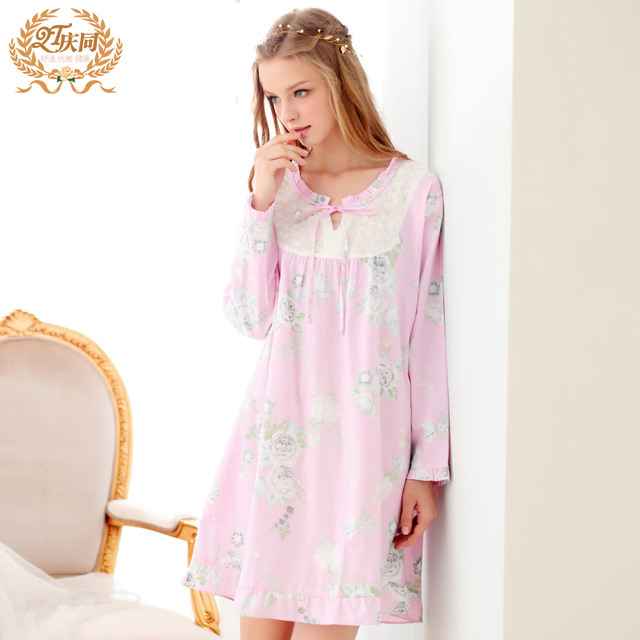 New Arrival Women S Nightgowns Long-Sleeve 100% Woven Cotton Sweet Elegant  Sleepwear Lovely Nightdress 7c59c6c05