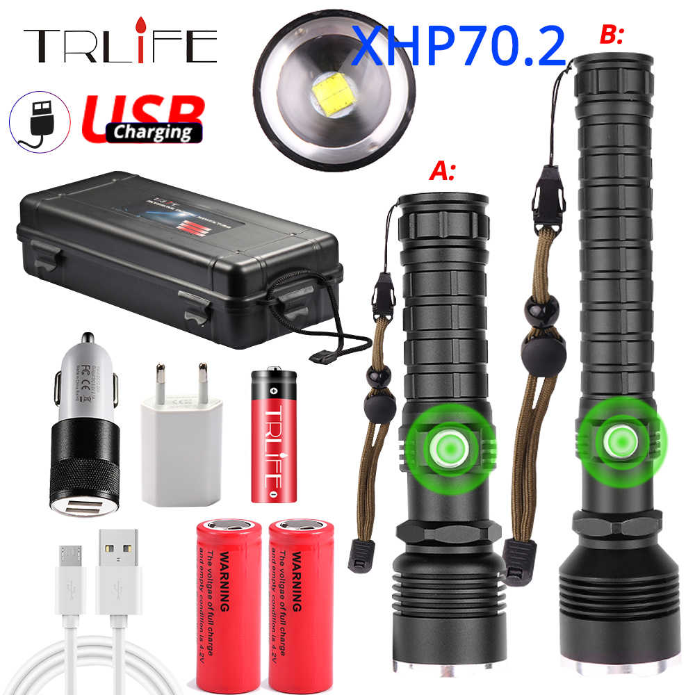 80000LM XHP70.2 LED Flashlight Most Powerful XLamp XHP50 Rechargeable USB Zoom Torch XHP70 18650 26650 Hunting Lamp SelfDefense