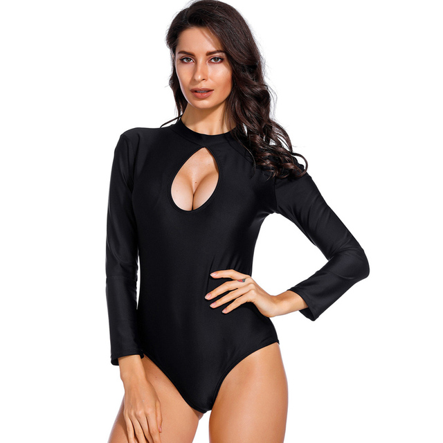 93880a4696 Solid One Piece Swimsuit 2019 Sexy Long Sleeve Bathing Suit Bodysuit Padded Plus  Size Swimwear Women maillot de bain femme mayo