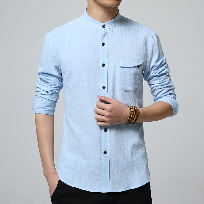2016 Chinese Style Men Men Shirt Fashion Luxury Brand Long Sleeve Slim Slim Chemise Homme