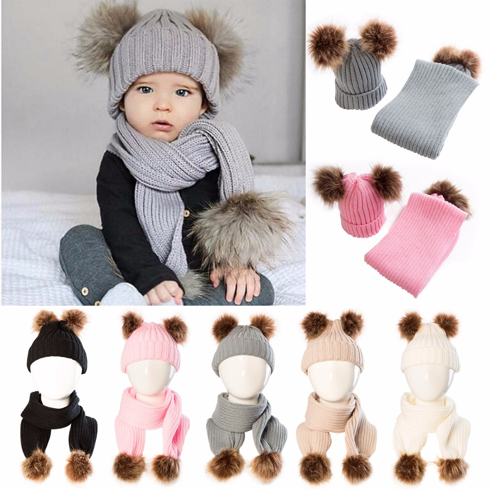 2018 Winter Puseky Infant Toddler Baby Boys Girls Fur Pom Pom Ball Knit Warm Beanie Cap Ski Hat+Scarf Warm Crochet Headgear Set beanie