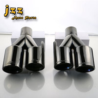 1Lot Universal Round Burning Black Stainless Steel Car Silencer Exhaust Pipe Muffler Tail Dual Tips For