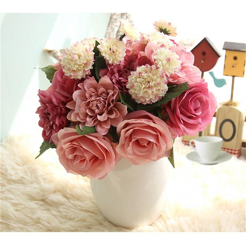 1pcs Simulation Rose Flowers Artificial Wedding Decorative Silk Flower Bouquet Bridal Decoration Colorful Home Decor 2017 Newest