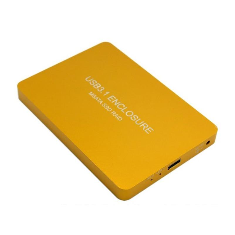 Free Shipping tracking number USB-C USB 3.1 Type C to Dual 50mm MSATA PCI-E SSD Enclosure with Raid Raid0 Raid1 or PM цена 2017