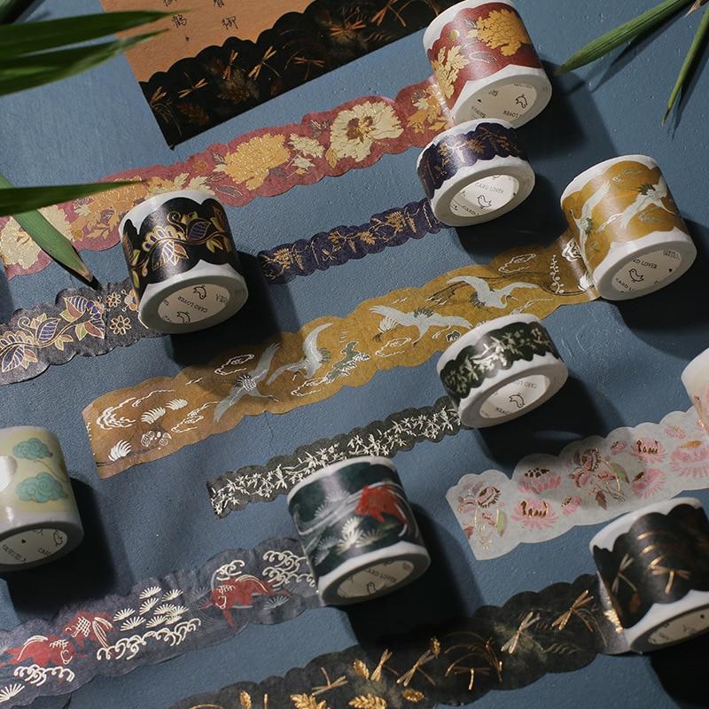 5m 1 Pcs Gold Silver Chinese Classical Courtyard Pond Design Washi Tape Adhesive DIY Scrapbook Masking Gift Decor