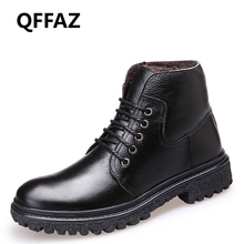 QFFAZ Handmade Men Warm Winter genuine leather shoes men casual Men Boots Men's Waterproof Boots Male Ankle Boots