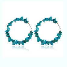 Trendy Coral Red Natural Stone Beads Earrings for Women Handmade Big Circle Party Fashion Jewelry