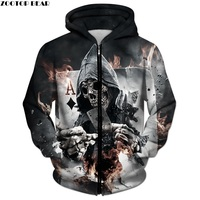 3D Zip Hoodies Skull Poker Hoodie Men Women Sweatshirt Brand Tracksuits Quality Plus Size Streetwear Drop