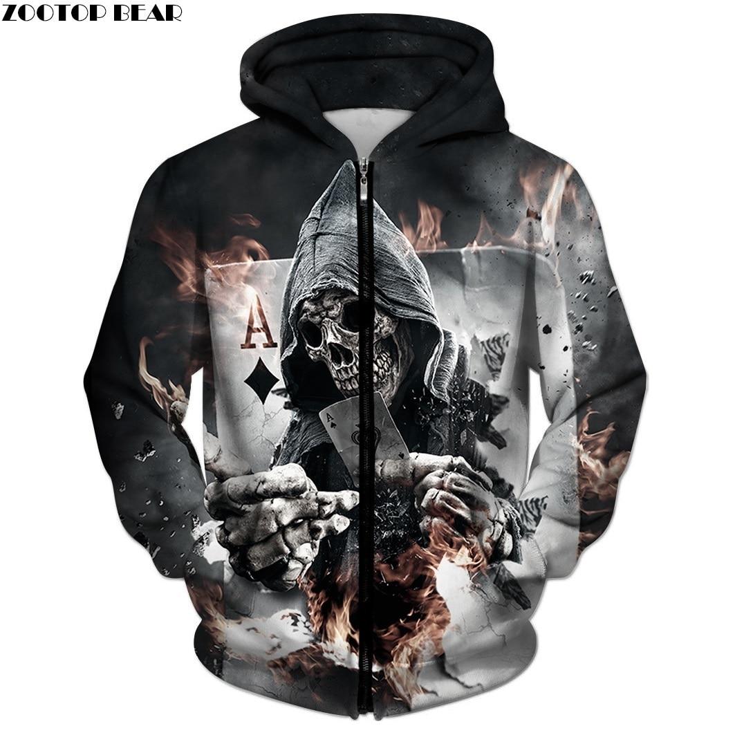 3D Zip Hoodies Skull Poker Hoodie Men Women Sweatshirt Brand Tracksuits Quality Plus Size Streetwear Drop Ship Hoody ZOOTOP BEAR