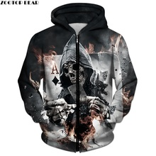 3D Zip Skull Poker Men Women Sweatshirt Tracksuits Plus Size Streetwear ZOOTOP BEAR