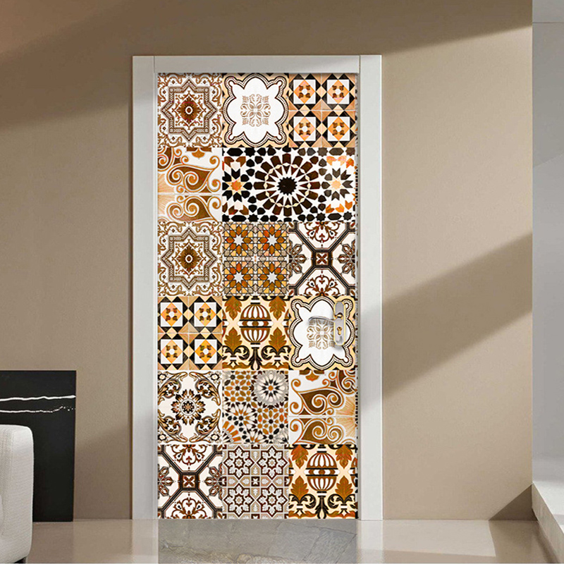 3D Wall Door Sticker Modern Geometry Creative Art Wallpaper Living Room Kitchen Bathroom Waterproof Door Decals Papel De Parede