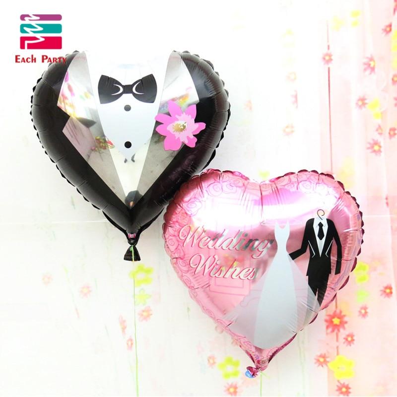 18 Inches Wedding Decorations Heart Bride Groom Aluminium