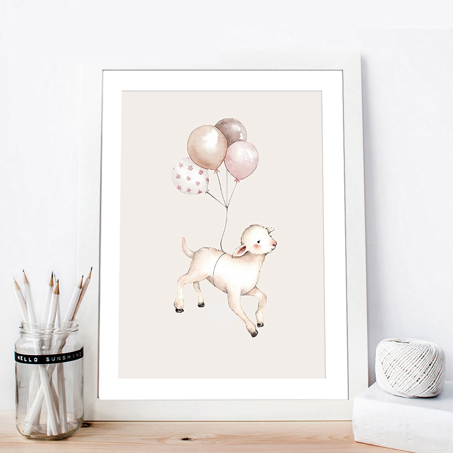 Rabbit Fox Sheep Balloon Star Moon Wall Art Canvas Painting Nordic Posters And Prints Animals Wall Pictures Kids Baby Room Decor in Painting Calligraphy from Home Garden