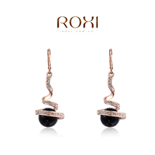 ROXI Brand Top Quality Rose Gold Drop Earrings Nickle Free Fashion Jewelry Earrings Elegant Black Dangle Earrings Womens Gift