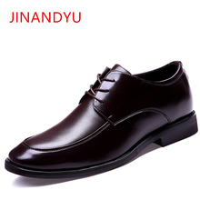 Height Increasing Brown Men Dress Shoes Genuine Leather Mens Formal Shoes Black Italian Fashion Business Oxford Shoes Men 2018