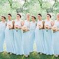 Sky Blue Cheap Bridesmaid Dress 2016 A-line Pleated Full Length Light Blue Chiffon Bridesmaid Dresses with Handmade Flower