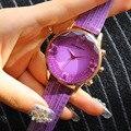 Big Venda Borboleta Crystal Full Assista Big Dial PU de Couro Relógio de Quartzo Relógio de Pulso Luxury Vestido Roxo Rhinestone Pulseira
