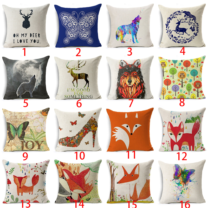Red Fox Cushion Cover Cotton Linen Letter Cartoon Tree Deer Wolf High Heels Home Deocrative Pillow Cover for Sofa Cojines