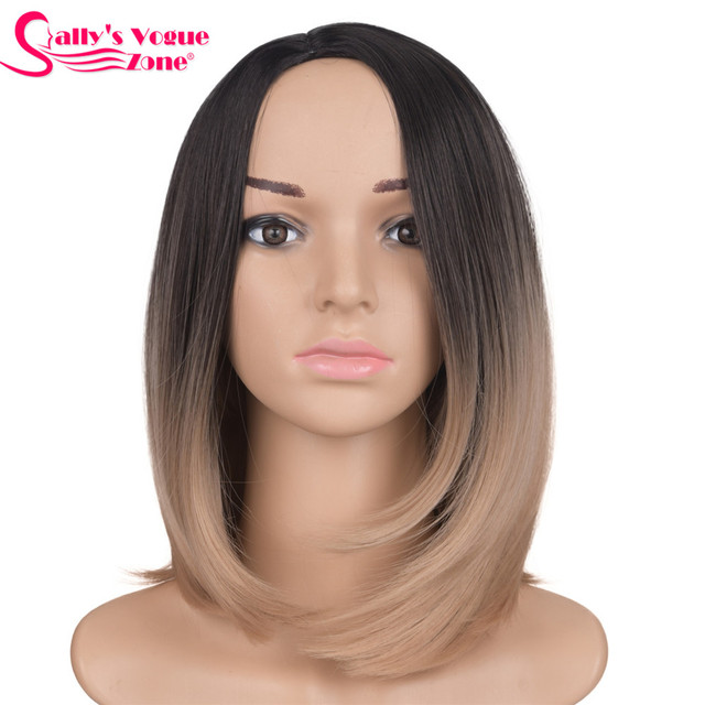 Sallyhair Middle Part 12inch Japanese High Temperature Fiber Synthetic Short Ombre Black Dark Blonde Color Bob