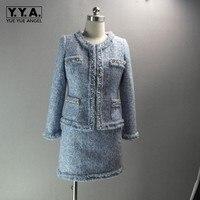 Элегантные Итальянские женские офисные жемчуг Бисер твид комплекты из двух предметов Ленточки Twill куртка пальто Обёрточная бумага Мини юбк