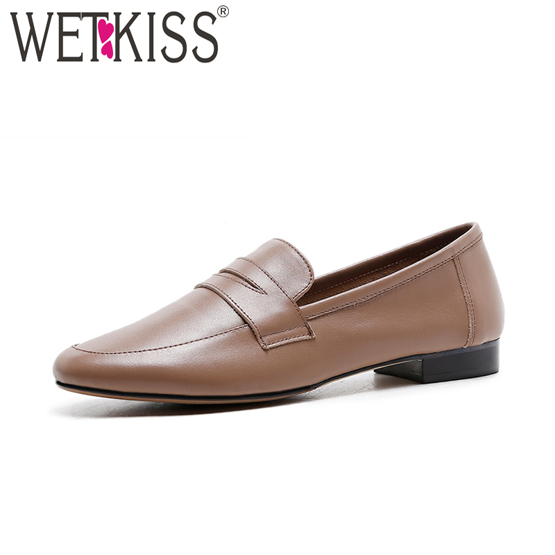 WETKISS 2018 New Arrival Genuine Leather Women Flats Round Toe Slip On Sewing Footwear Spring Fashion Casual Ladies Shoes new women flats shoes leather round toe shoe ladies fashion leather girl shoes slip on work footwear spring summer big size