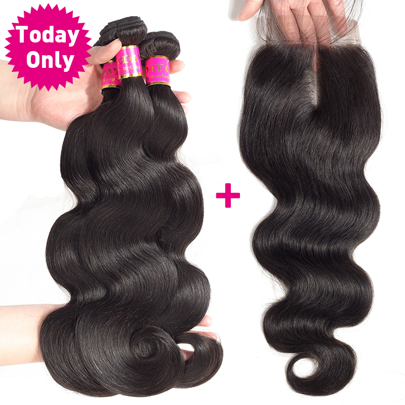 TODAY ONLY Malaysian Body Wave 3 Bundles With Closure Remy Human Hair Bundles With Closure Malaysian Hair Bundles With Closure