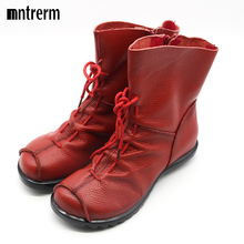 2016 High Quality Mujer Chaussure Women Genuine Leather Boots Casual Ladies Martin Shoes Winter Flat Boots Push large size