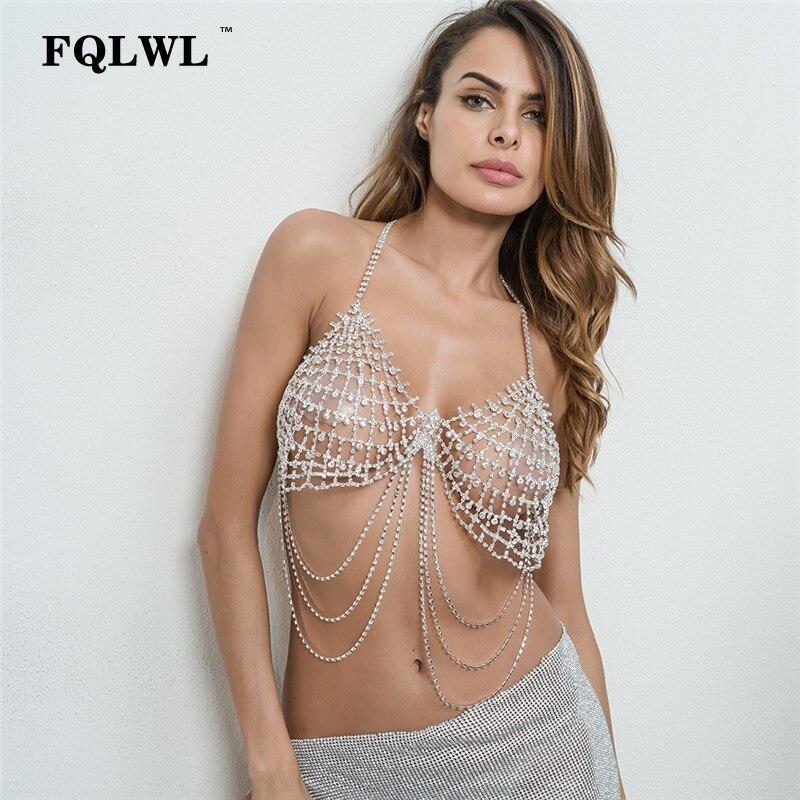 FQLWL diamants licou Bralette haut court Sexy femmes strass Sequin soutien-gorge blanc dos nu débardeur hauts Femme été 2018 haut de plage