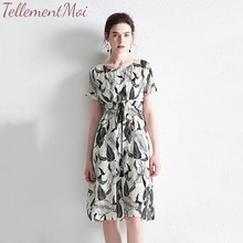 Women Leaves Print Midi Dress Short Sleeve Female Casual Loose A-Line Silk Summer Dresses Chic Vestidos Plus Size